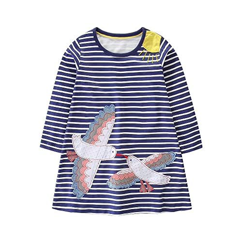 79b18e2a7d FreeLu Girls' Cotton Casual Longsleeve Party Dresses Special Occasion  Cartoon Print Dress