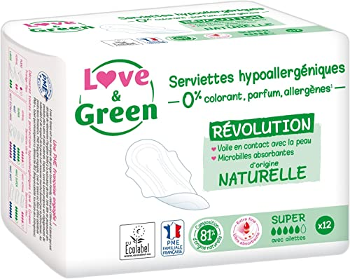 Love & Green Serviettes Hypoallergéniques Super 0% 12 Pièces - Lot de 4