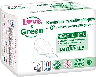 Love & Green Serviettes Hypoallergéniques Super 0% - 1 Paquet de 12 serviettes