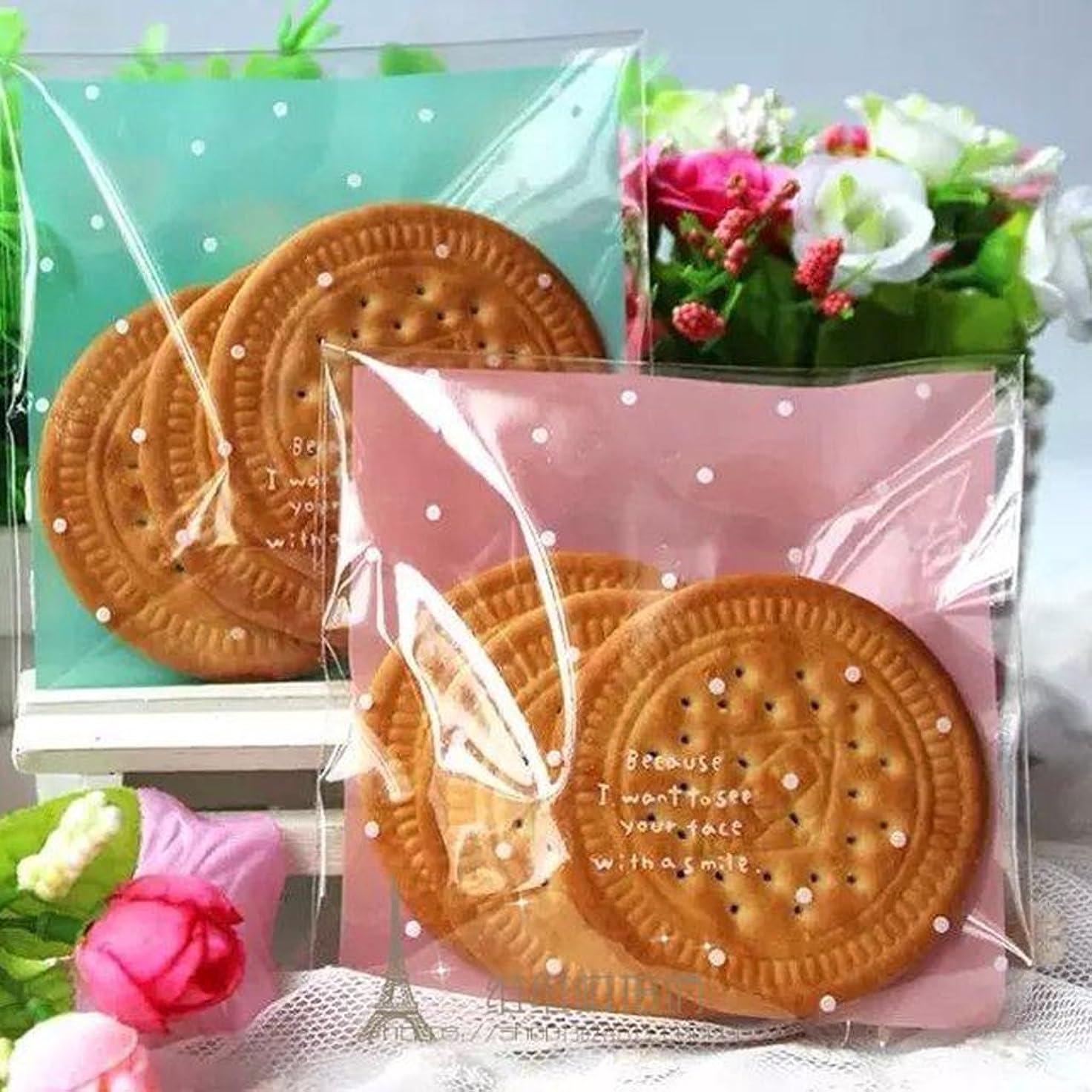 黒十分な昇進ノーブランド品 約100枚 自己接着性 クッキー ビスケット キャンディー ラップ 小袋