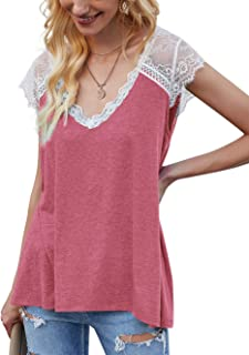 Sponsored Ad - Women's V Neck Lace Tank Tops Casual Sleeveless Summer Tops Crochet Lace Trim Blouses Tunic Shirts