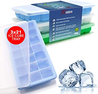 Rease Ice Cube Trays Silicone (3 Pack) Easy Release Stackable, Ice Tray With Lid, BPA Free, Ice Trays-Safe for Baby Food