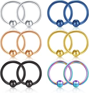 12PCS 22G 20G 18G 316L Surgical Steel Fake Captive Bead Ring for Nose Septum Hoop Ear Tragus Cartilage Piercing Lip Piercing Jewelry Rings 8mm 10mm