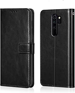 WOW Imagine Redmi Note 8 Pro Flip Case | Premium Leather Finish | Inside TPU with Card Pockets | Wallet Stand | Shock Proof | Magnetic Closure | 360 Degree Complete Protection Flip Cover for Xiaomi Redmi Note 8 Pro - Black