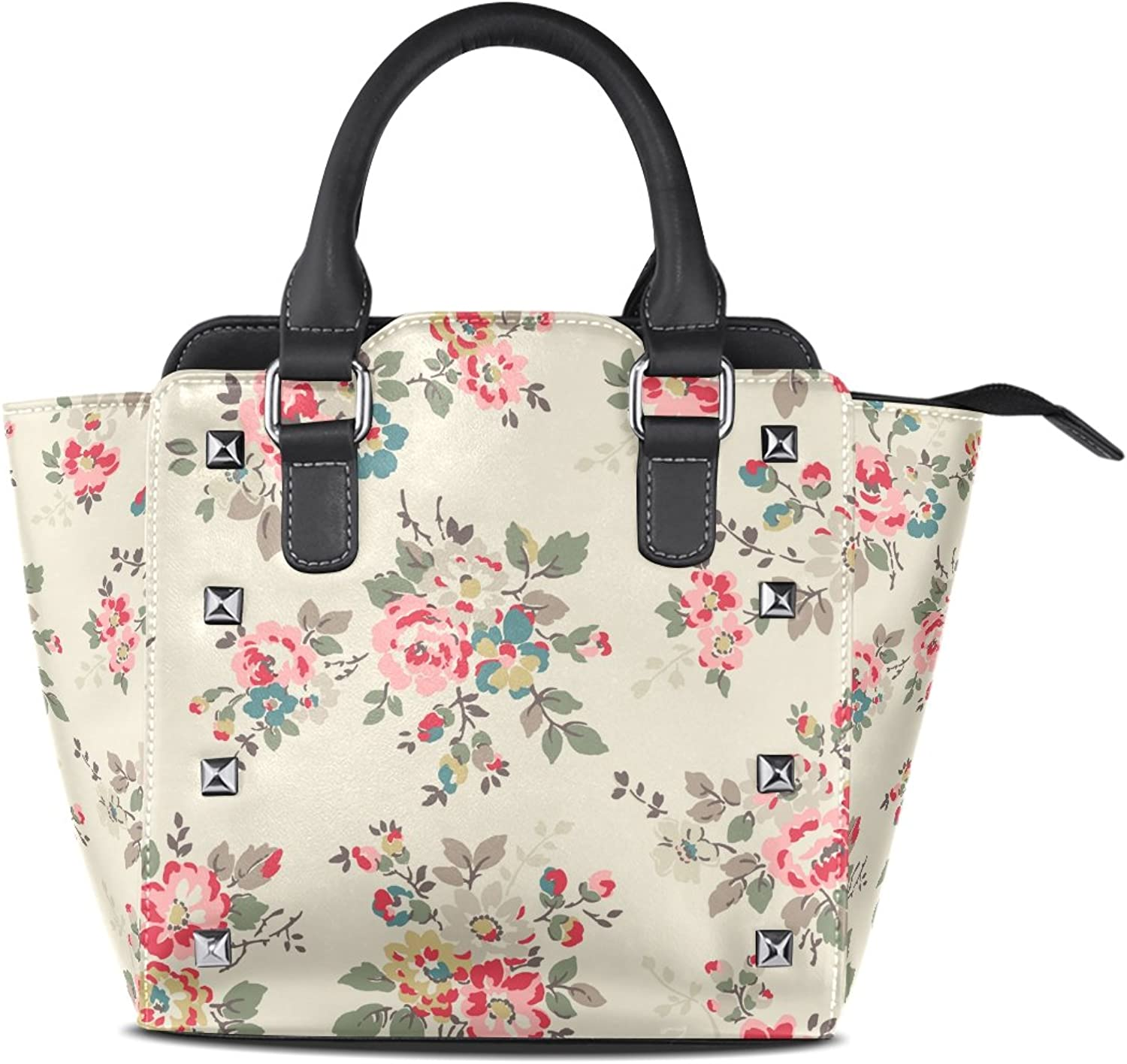 Sunlome Watercolor Floral Print Women's Leather Tote Shoulder Bags Handbags