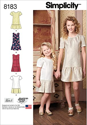 aedd3eb69ac928 Simplicity 8183 Child's and Girls' Dress or Jumper with Skirt Variations,  K5 (7
