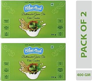 Blueneck Natural Butterscotch Green Tea Oats Cookies - 200g (Pack of 2)