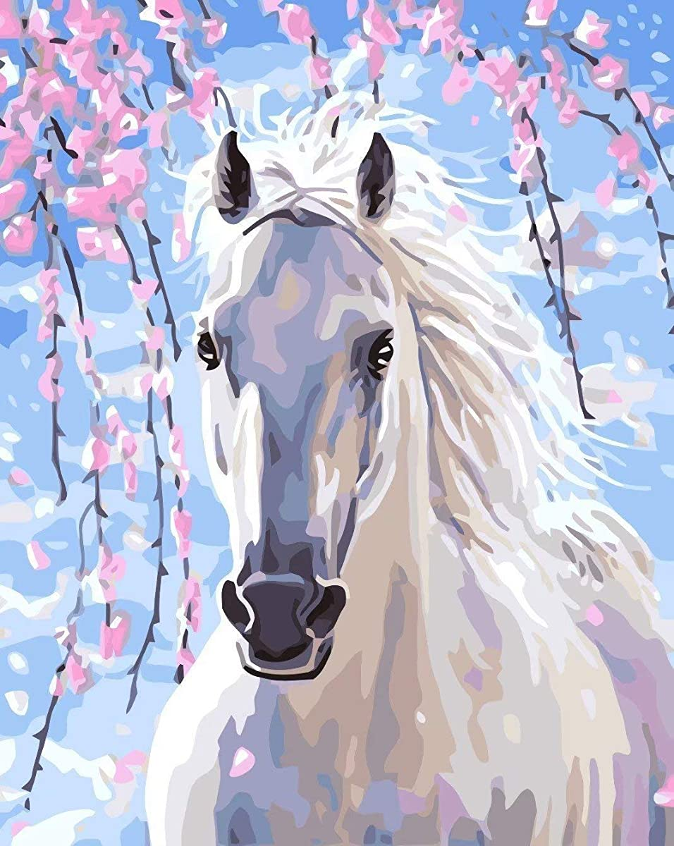 DIY 5D Diamond Painting Kit for Adults Children, NYEBS 5D DIY Diamond Painting Full Round Drill Animal White Horse Rhinestone Embroidery for Wall Decoration 10X12 inches (Full Drill)