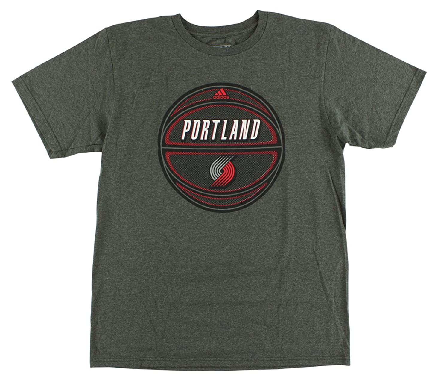 adidas Mens Portland Trail Blazers Play Forward T Shirt Gray