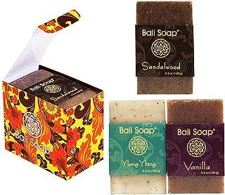 Bali Soap - Natural Soap Bar Gift Set, 3 pc Variety Pack, Sandalwood - Ylang-Ylang - Vanilla, Face or Body Soap, Best for ...