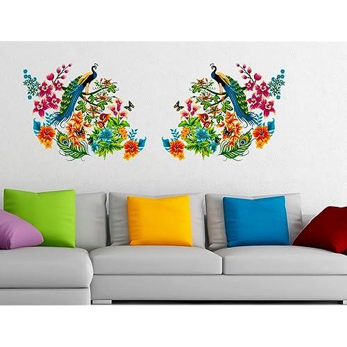 Decals Design 'Peacock Birds on Branch Leaves' Wall Sticker (PVC Vinyl, 60 cm x 90 cm, Multicolour)