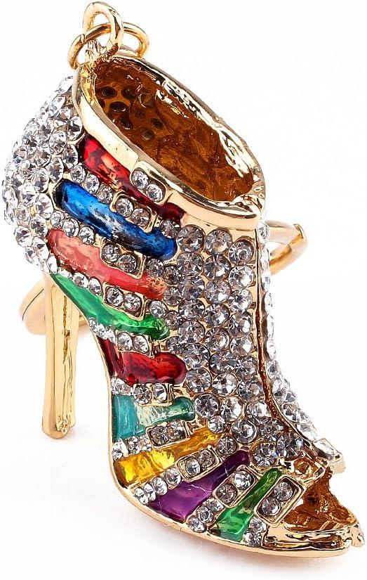Fdit Rhinestone Crystal Keyring Charm Pendant Purse Key Ring Keychain Multi-Color Unique Shape Woman Girls Lady