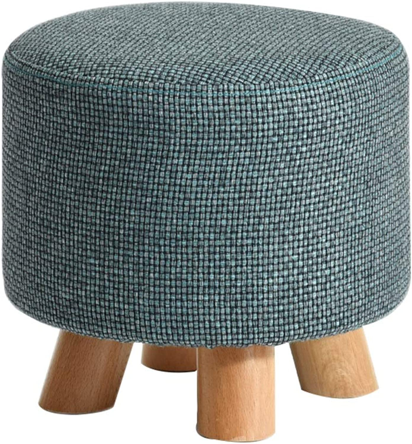 Stools Stools Natural Cotton and Linen Solid Wood Stools Green Reinforced Non-Slip Living Room Home Stool (color   bluee, Size   29  29  25cm)