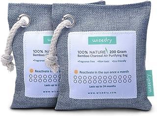 wisedry 200g x 2 Paquetes Bolsa Purificadora de Aire, Carbón Activado De Bambú, Ambientador Natural Eficaz y Desodorante para Eliminar los Olores De Armario, Bolsa de Gimnasio, Zona de Mascotas, etc.