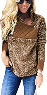 Women Pullover Sweatshirt Non-Woven Fuzzy Casual Pullovers Tops Autumn Fashion Winter Elegant Tops Shirts 142zxc (Color : Brown, Size : XXL)