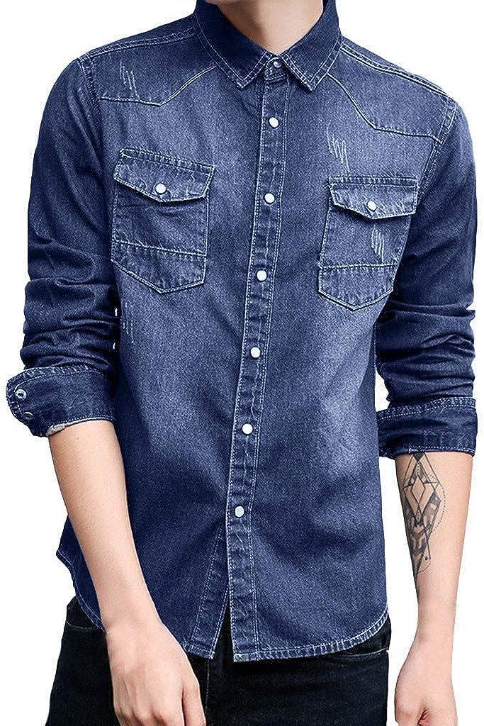 MODOQO Men's Denim Shirt Casual Button Down Loose Fit Long Sleeve Dress Shirt