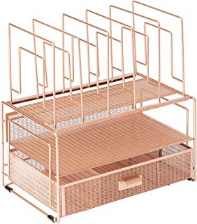 $45 » Blu Monaco Workspace Rose Gold Desk Organizer and Accessories Desktop Rack with File sorters and Drawer for Office Supplie...