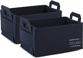 Ocean Home Lot de 2 paniers de rangement rectangulaires en feutre - Durable - Pliable - Rangement pour jouets, vêtements, ...