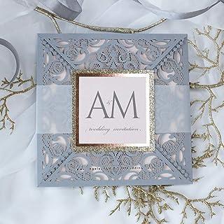 Carta con busta partecipazioni matrimonio taglio laser fai da te grigio opaco inviti matrimonio - campione prestampato !!