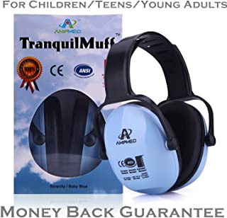 Hearing Protection Earmuff/Headphone for Toddler, Kids, Teen, Young Adult. Amplim Noise Reduction Headphones, Sound Canceling Earmuffs Ear Defenders - Airplane, Concert, Outdoor, Lawn Mower - Blue