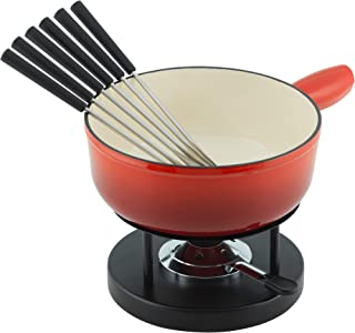 KUHN RIKON Cheese Fondue Set, Red, Cast Iron