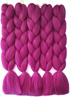 HiDoLa Rose Red Braiding Hair 5pcs/Lot Colored Hair Extensions for Braids Kanekalon Jumbo Hair 24 Inch Synthetic Hair for Crochet Box Braids Twist Braiding Hair (C5, Rose Red)