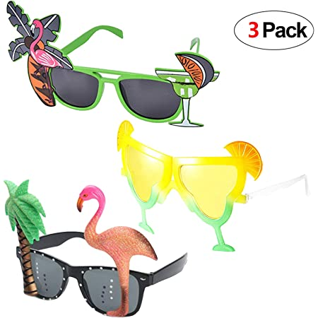 Howaf 3 Pairs Hawaiian Glasses Novelty Party Sunglasses Eyewear for Kids & Adults Beach Summer Tropical Party Fancy Dress Up Costume Accessory