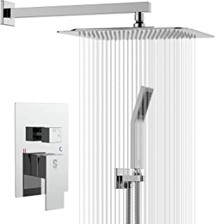 SR SUN RISE SRSH-D1203 12 Inch Bathroom Luxury Rain Mixer Shower Combo Set Wall Mounted Rainfall Shower Head System Polished Chrome Shower Faucet Rough-in Valve Body and Trim Included