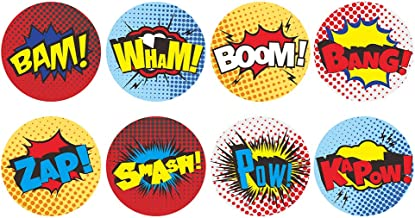 """600 1.5"""" Superhero Stickers, Comic themed stickers, Fun, Colorful, perfect party favor and reward for kids"""