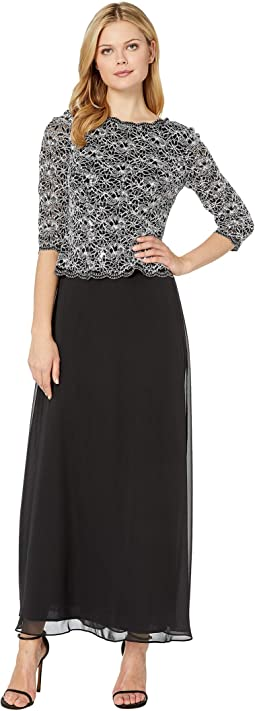 5292e16240 Tahari by asl sequin embroidered gown