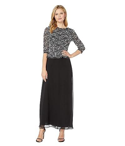 Alex Evenings Long Sequin Lace Mock Dress (Black/White) Women
