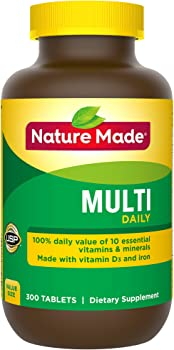 Nature Made Multi Daily Vitamin with Iron and Calcium 300-Tablet Bottle