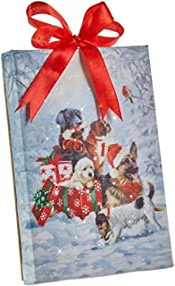 """Raz Imports Dogs Puppies with Gifts Lighted Print Ornament with Easel Back 6""""L X 1""""W X 6""""H"""