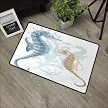 pad W19 x L31 INCH Animal,Pair of Little and Big Fishes in Soft Colors Featured Design Tropical Creatures,Blue Cream with Non-Slip Backing Door Mat Carpet