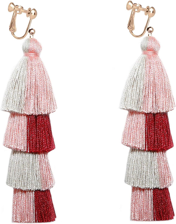 Layered Fringe Earrings Clip on No Pierced Tassels 4 Tier Multicolor Threader Lightweight Bohemian Dangle Statement Handmade Women Girls