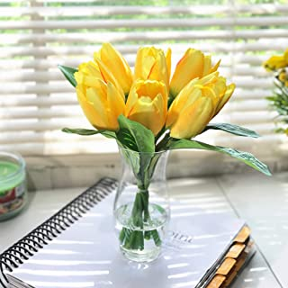 Enova Home Silk Tulips Centerpiece in Clear Glass Vase with Faux Water Flower Centerpiece Home Decor (Yellow)