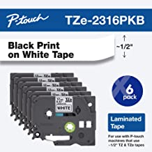 "Brother Genuine P-Touch, TZe-231 6 Pack Tape ½"" (0.47"") x 26.2 ft. (8m) 6-Pack Laminated P-Touch Tape, Black on White, Perfect for Indoor or Outdoor Use, Water Resistant, TZE2316PKB (tze231)"