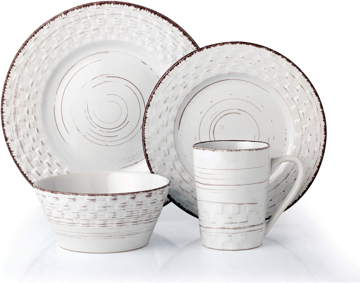 Lorren Home Trends Basket Under blast sales Set White supreme Dinnerware