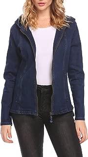 OD'lover Women's Long Sleeve Classic Trucker Hood Jean Denim Jacket
