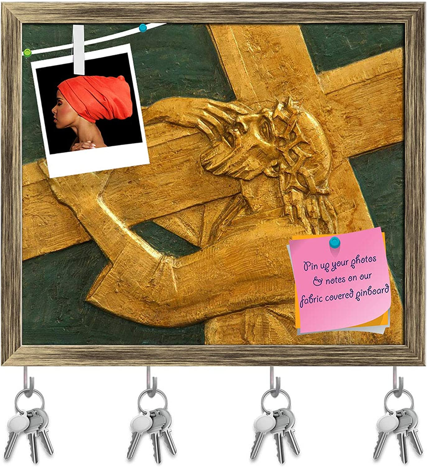 Artzfolio 2Nd Station of The Cross, Jesus is Given His Cross Key Holder Hooks   Notice Pin Board   Antique golden Frame 18.8 X 16Inch