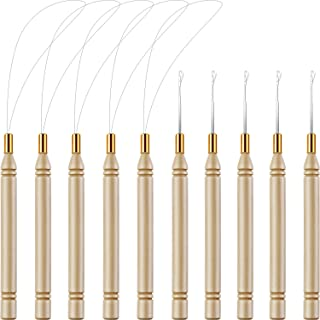 10 Pack Wooden Hair Extension Loop Needle Threader Pulling Hook Tool and Bead Device Tool for Hair or Feather Extensions (Loop Tools and Hooks)