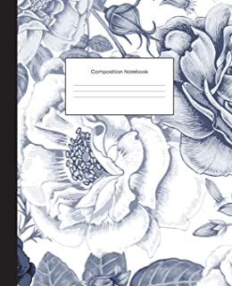 Composition Notebook: Navy Floral College Ruled Blank Lined Cute Notebooks for Girls Teens Kids School Writing Notes Journal (7.5 x 9.25 in) (Composition Notebooks)