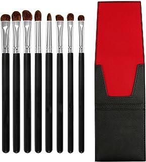 Make-upborstels, elke set van 8 stuks schoonheidstools houten handvat paardenhaar oogmake-up kwastenset schoonheidstools G...
