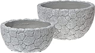 Indian Handicrafts Nesting 2 Pc Cement Bowl (Crackled White) planters
