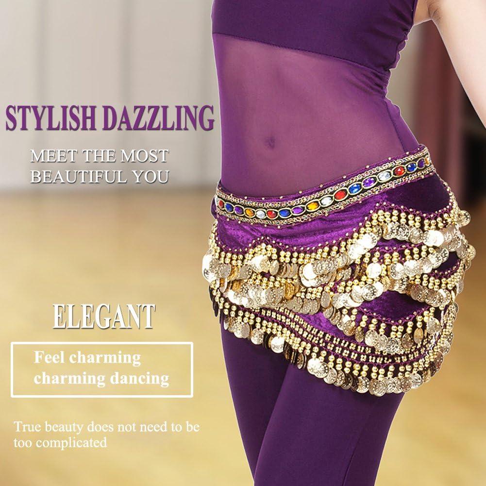 VGEBY Belly Dance Hip Belt Fashionable Dancing Costume Waist Scarf Belt 328 Golden Coins Tassel