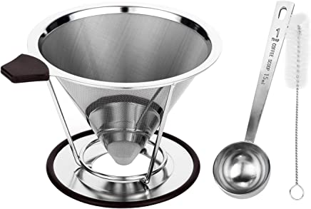 Stainless Steel Pour Over Coffee Dripper With Stand - Pour Over Coffee Maker/Coffee Filter Guarantees Bolder Flavors - Experience Coffee Spoon With A Reusable Coffee Dripper Cone (Coffee Dripper)