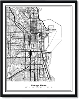 Susie Arts 11X14 Unframed Chicago Illinois Metropolitan City View Abstract Street Map Art Print Poster Wall Decor V222