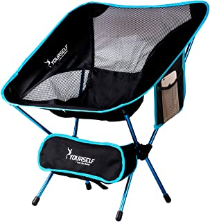 SYOURSELF Portable Folding Camping Chair-Lightweight, Compact, Comfortable, Breathable Beach Travel Mesh Chairs, Heavy Duty-Perfect for Backpacking Hiking Picnic Outdoors Events with Carry Bag+Instruction