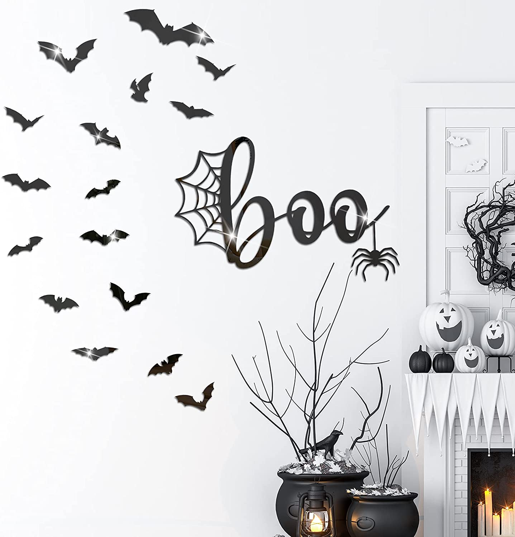 Halloween Spider Bat Wall Decor Bat Decorations Wall Decal 3D Bats Decor Wall Stickers Self-Adhesive DIY Halloween Mirror Decor Removable Spider Acrylic Sticker for Window Wall Mirror (Black)