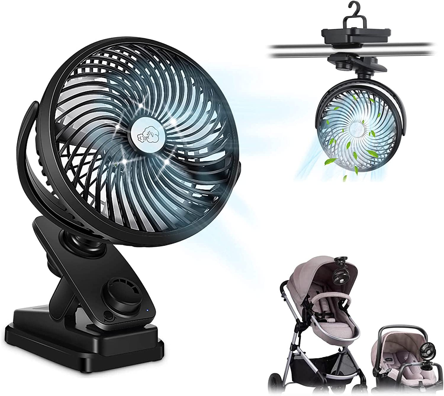 Baby Fan for Stroller 10000mAh Operated Genuine Free Shipping Now free shipping 7 Battery Rechargeable